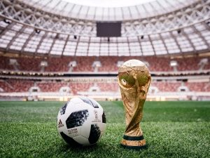 Adidas Telstar 18 official wallpaper with world cup 2018 trophy