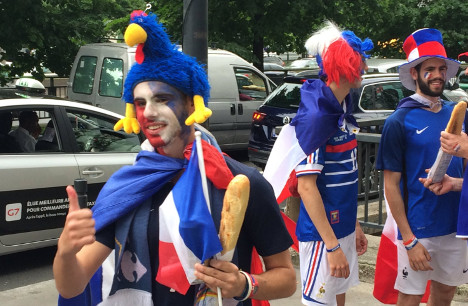 France soccer fans with team flag