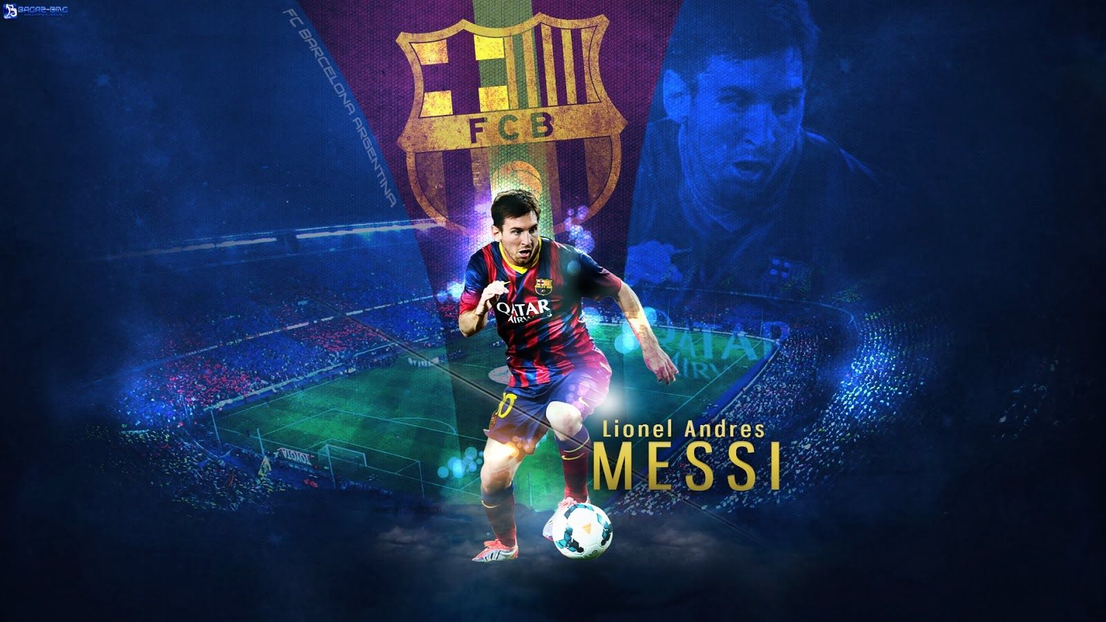 Eye Catching Lionel Messi Wallpaper with barcelona flag