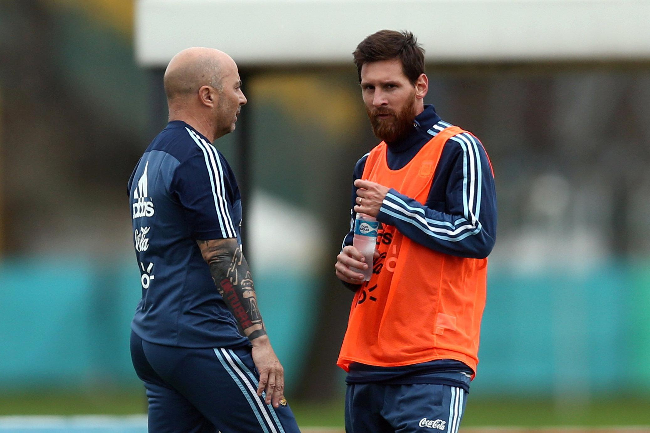 Lionel Messi with Head coach ahead of the football world cup 2018