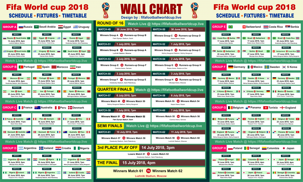 (Printable) Fifa World cup 2018 Fixtures & Schedule – Download PDF