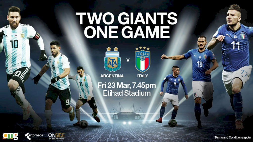 Two football Giants argentina and italia face to each other on etihad stadium 23 March in friendly