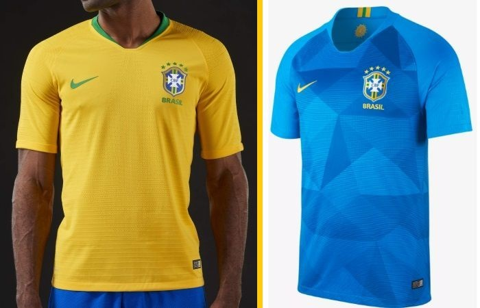Brazil home and away kits - jersey for world cup 2018