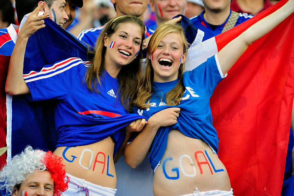 French Girls Draw goal on their body for football world cup
