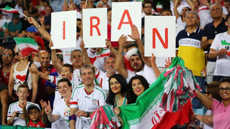Iran Football fans cheering with country name