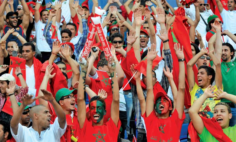 Morocco Football fans cheering their country in world cup events