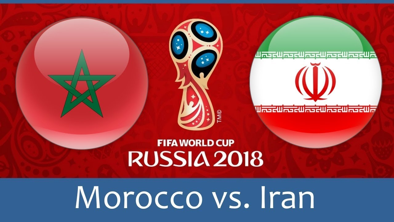 Morocco vs Iran world cup match hd photos with both team flag
