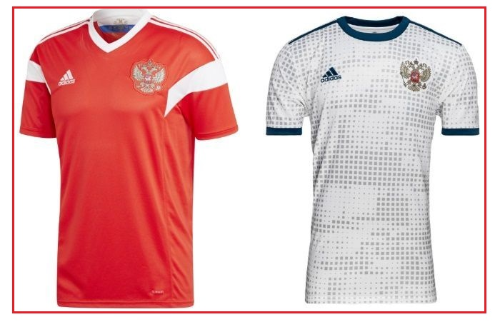Russia home and away kit - jersey for world cup 2018
