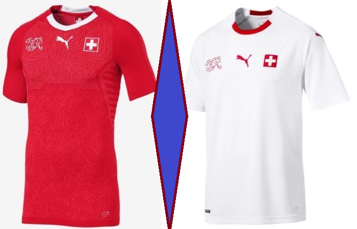 Switzerland home and away kits - jersey for world cup 2018