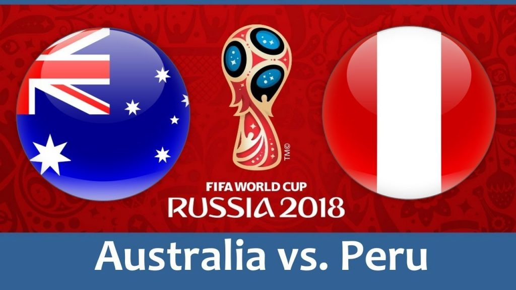 Australia vs Peru world cup match hd photos with both team flag