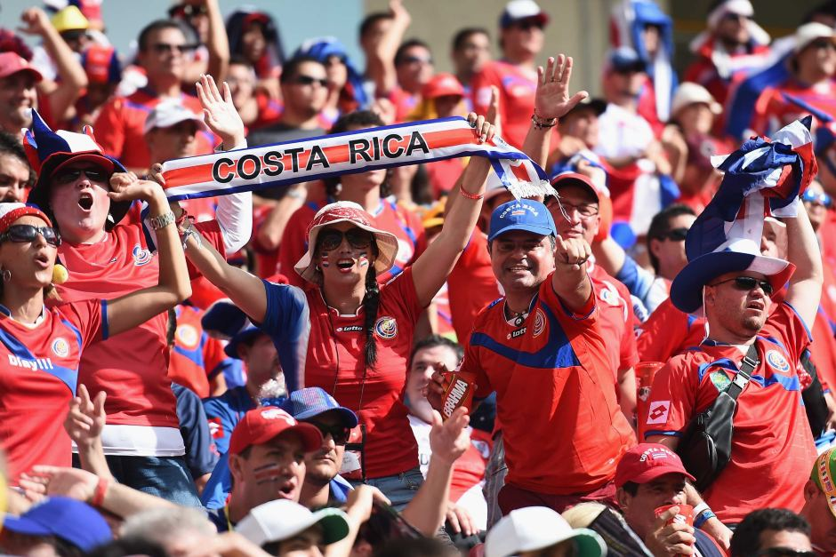 Costa Rica fans cheer their nation in football world cup
