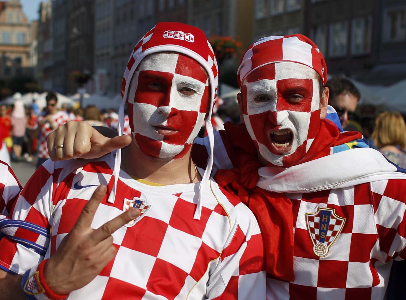 Croatian fans cheer celebrations before Euro 2012 soccer match against Spain in the Old Town of Gdansk