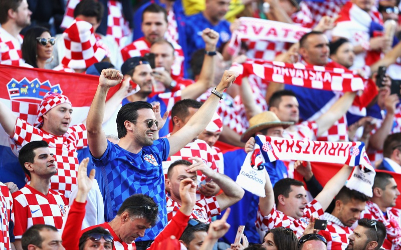 Croatia fans cheer their nation in fifa football world cup