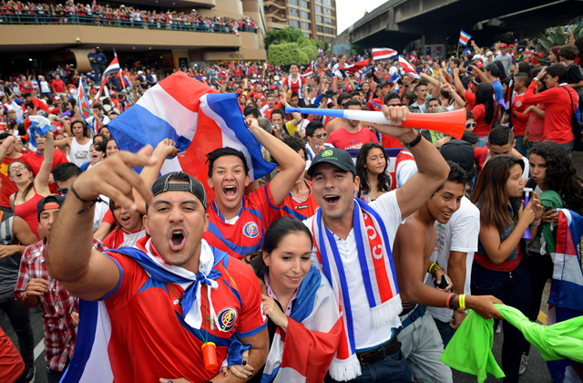 Football Crazy Costa Rica fans support their country in world cup