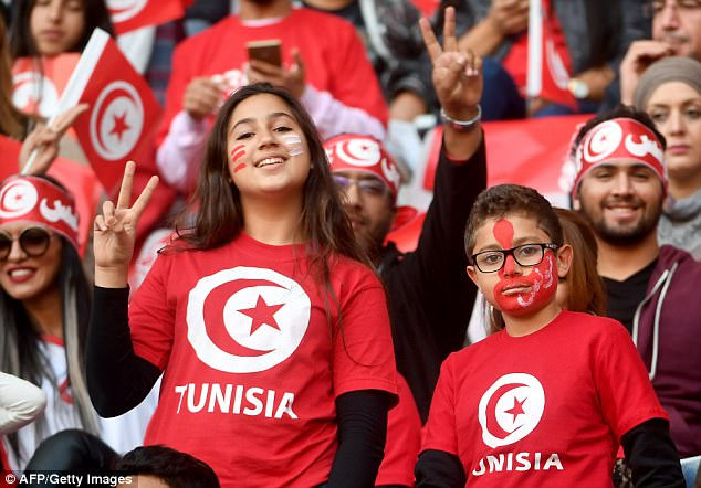 Girls & Boys ready to support their country of tunisia in soccer world cup