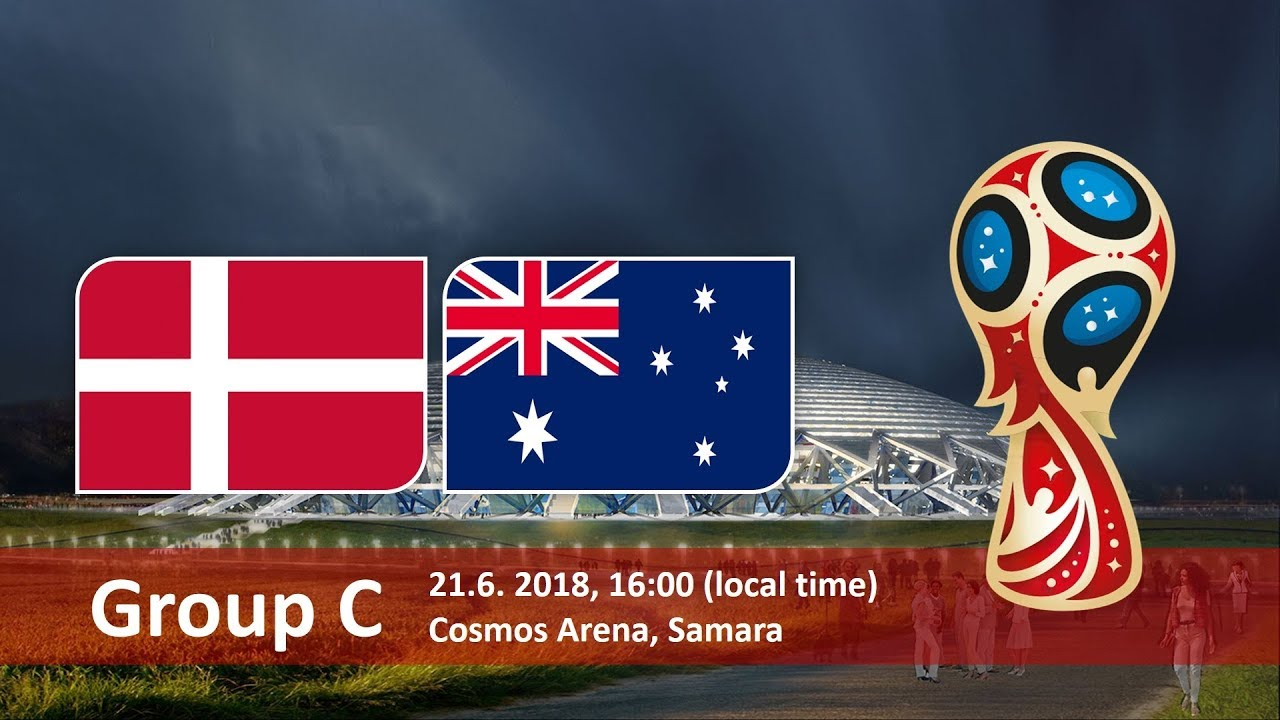 Group C Clash of Denmark vs Australia world cup Group stage match hd photos with both team flag