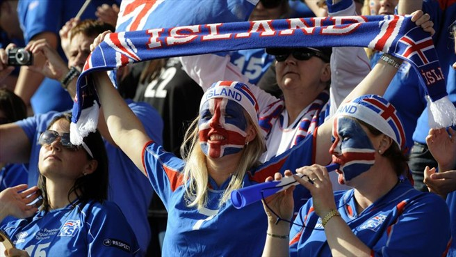 Iceland Soccer fans with colorfull faces
