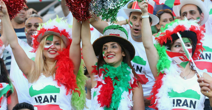 Iran fans with colorful dresses of countries flag