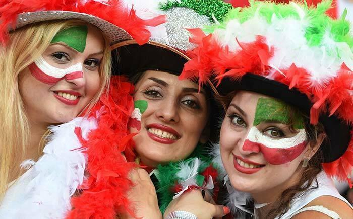 Iran soccer fans in glamorous look
