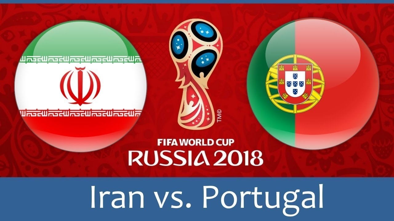 Iran vs Portugal world cup match hd photos with both team flag