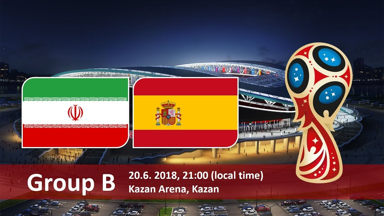 Iran vs Spain world cup Group stage match hd photos with both team flag