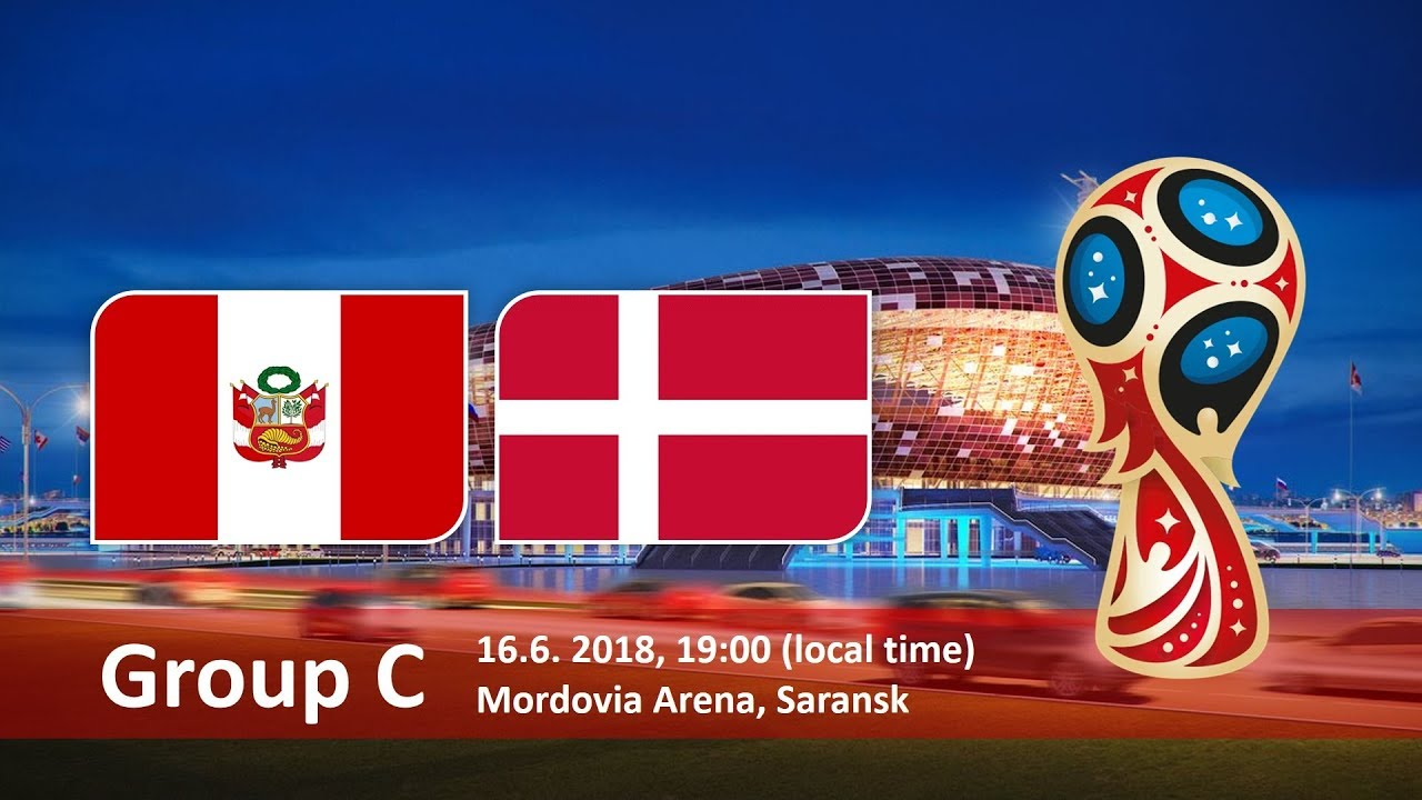Peru vs Denmark Soccer Match hd photos with both team flag and timing info