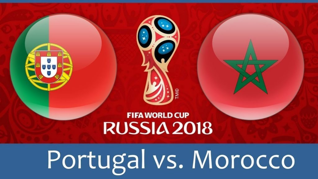 Portugal vs Morocco world cup match hd photos with both team flag
