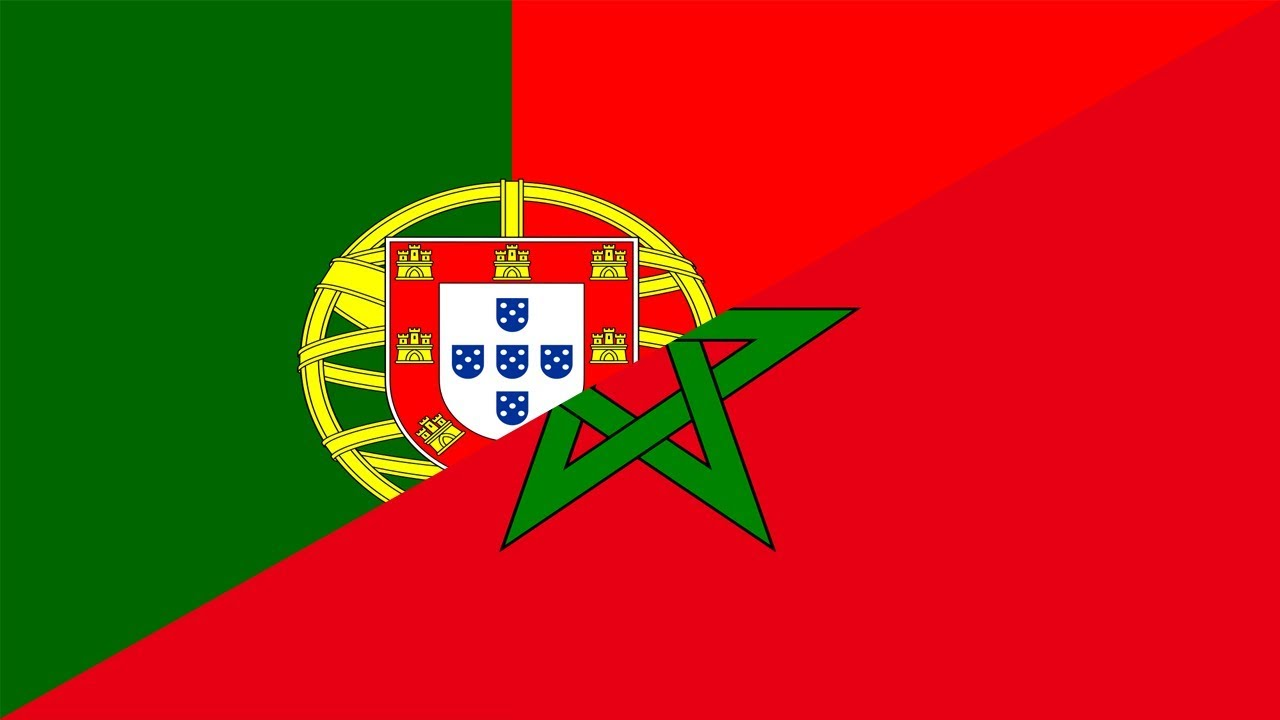 Portugal vs Morocco world cup match wallpaper with both team flag