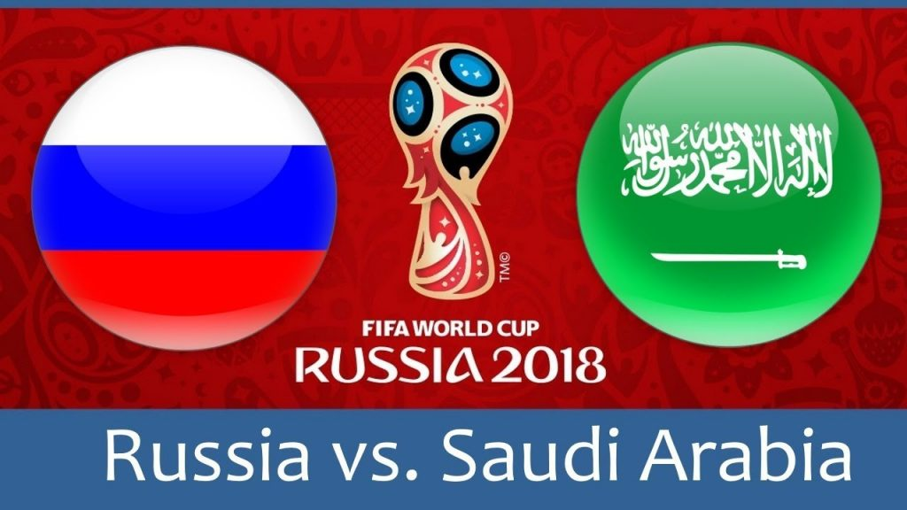 Russia vs Saudi Arabia world cup match hd photos with both team flag