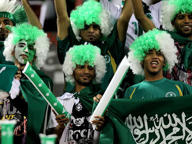 Saudi Arabia Football fans cheering their country in world cup events