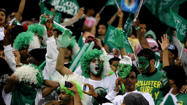 Saudi Arabia Football fans with happy faces