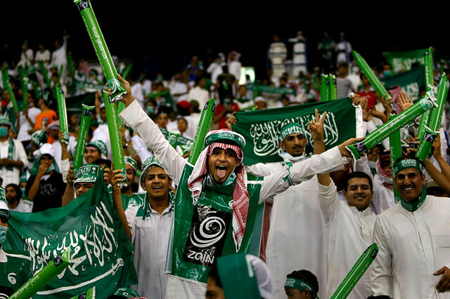 Saudi Arabia soccer Fans with happy faces
