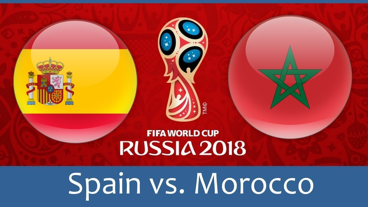 Spain vs Morocco world cup match hd photos with both team flag
