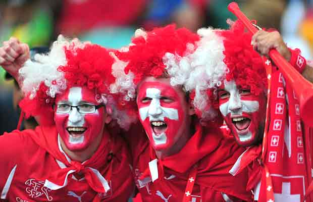 Switzerland country color share faces of Football fans