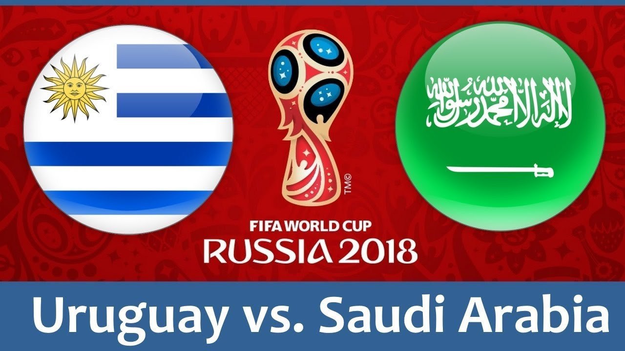Uruguay vs Saudi Arabia world cup match hd photos with both team flag