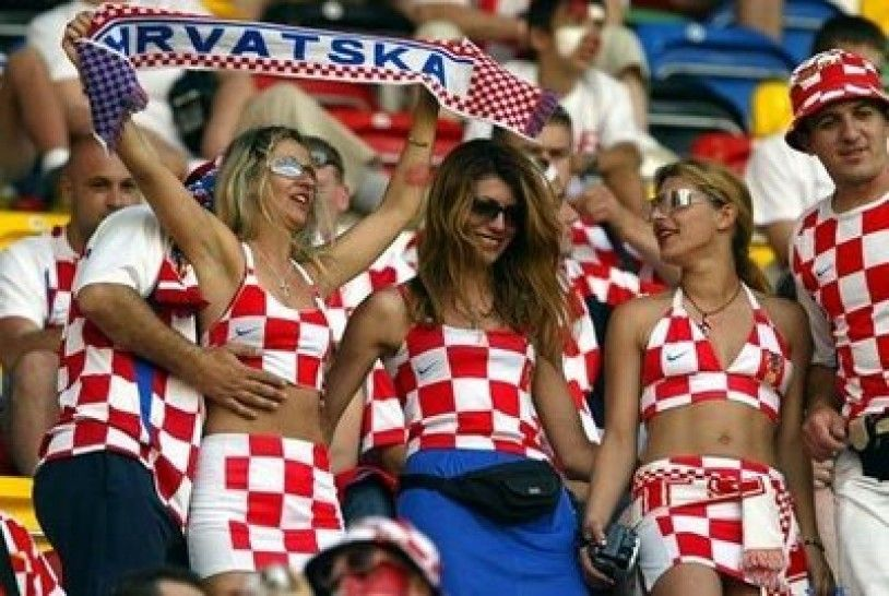 girls Wearing croatia Country Flag and cheer in football game