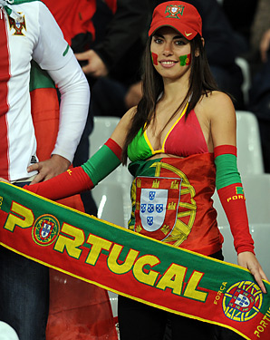 portugal Fans wear dress as a country flag color