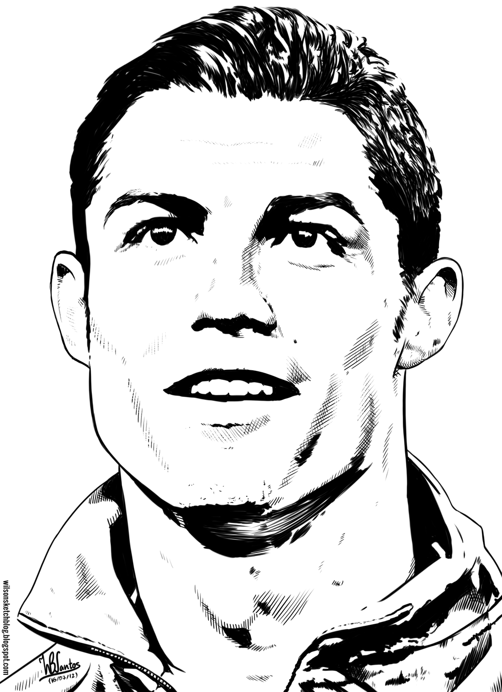 Cristiano Ronaldo face line art drawing