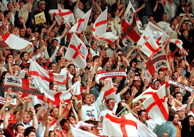 England soccer fans with team flag to cheer