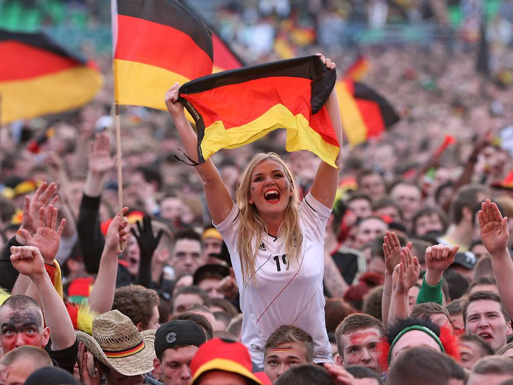 Germany fans cheer their nation in football world cup