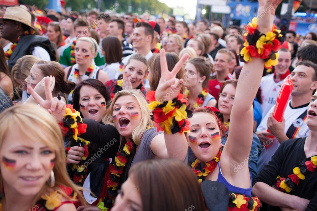 Germany football fans support their country in world cup at stadium