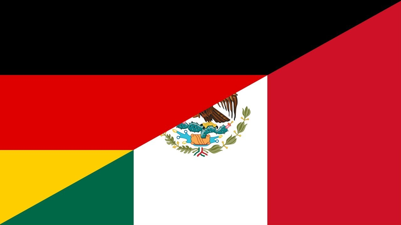 Germany vs Mexico football match wallpaper with flag of both nation