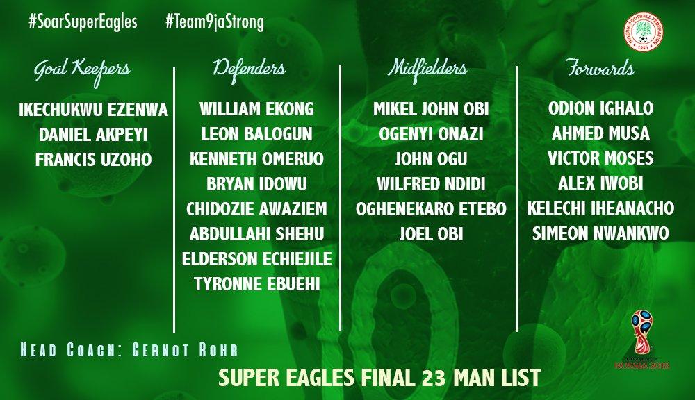 Super eagles 23 men squad for 2018 world cup