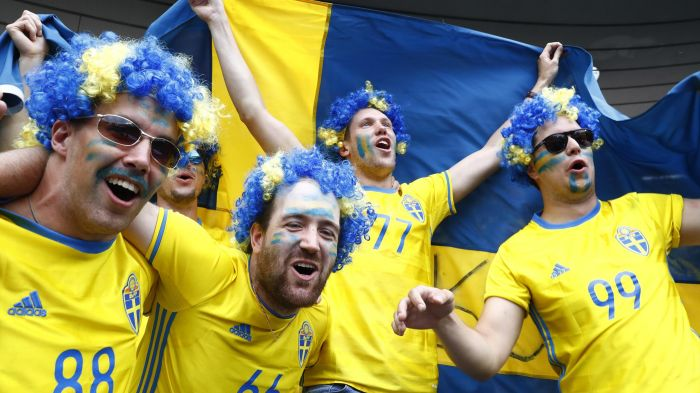 Sweden football fans support their nation in world cup