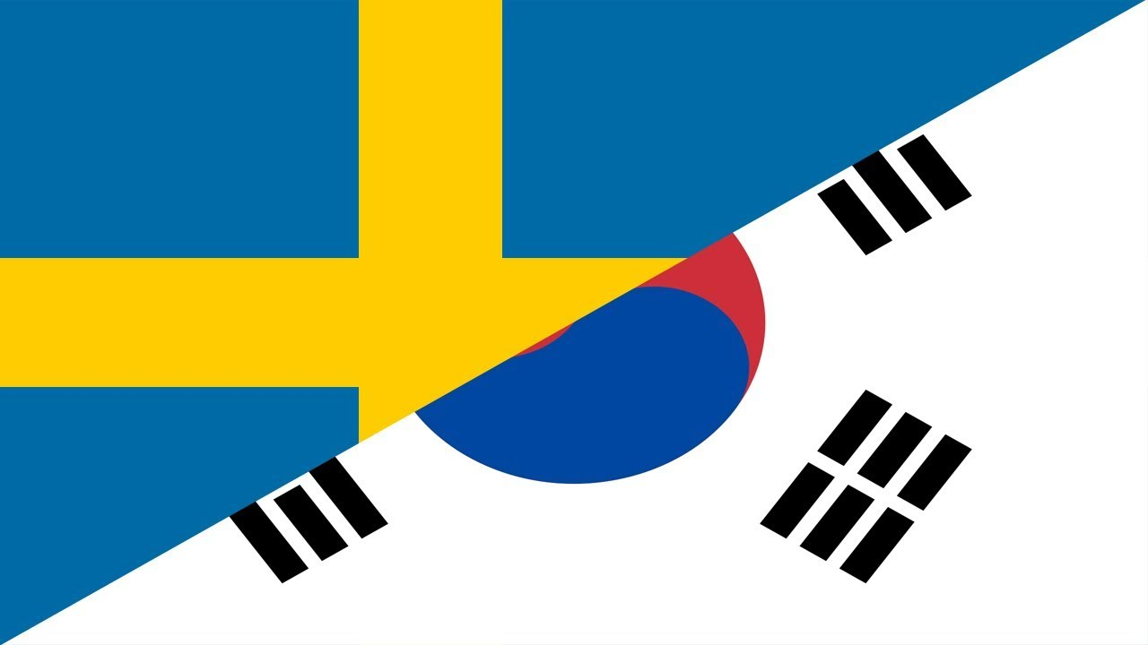 Sweden vs korea republic football match wallpaper with flag of both nation
