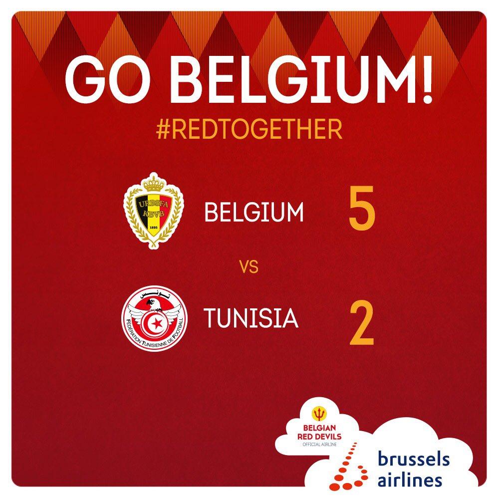 belgium 5 - 2 tunisia