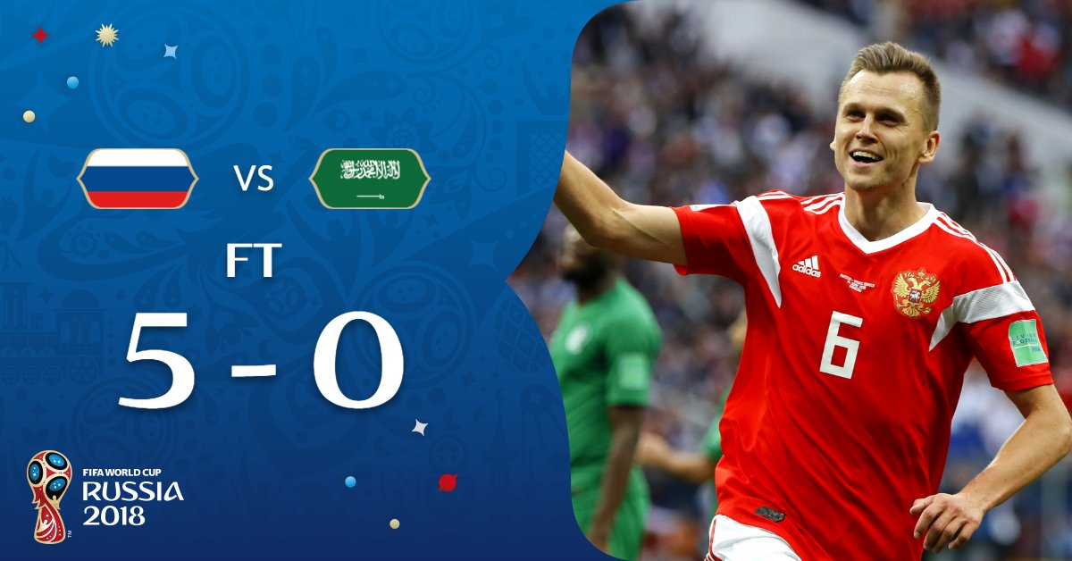 russia win by 5-0 in opening fixtures of world cup match