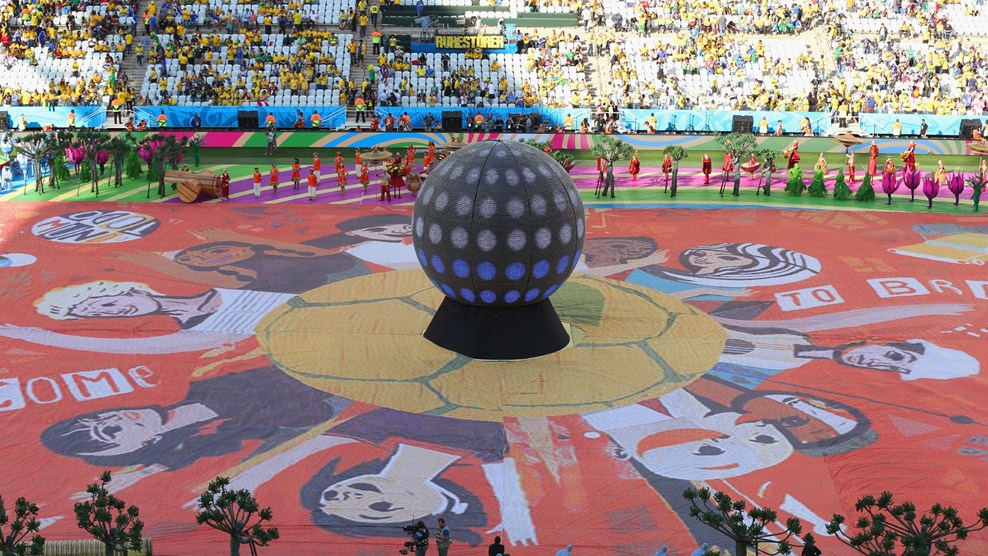 stadium looks before the opening ceremony starts at Brazil 2014