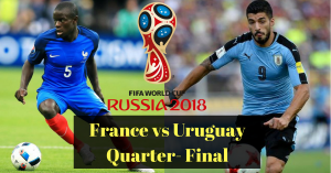 First Quarter Final Uruguay Vs France TV channel Listing – World cup 2018